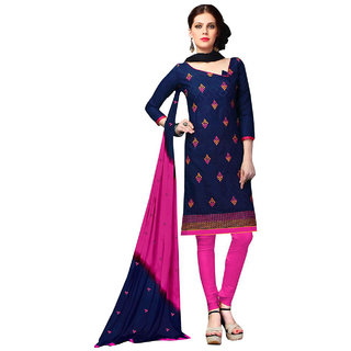 Aaina Blue With Pink Lakda Jaquard Cotton Embroidered Suit(SB-90009)