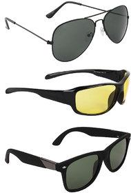 Zyaden Combo of 3 Sunglasses Aviator,Night Vision & Wayfarer Sunglasses