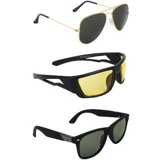 7be9424bb Zyaden Combo of 3 Sunglasses Aviator,Night Vision & Wayfarer Sunglasses
