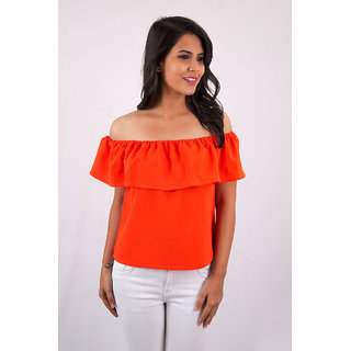 bdaeb0c9d57ee Buy Orange Off-Shoulder Ruffle Top Online - Get 6% Off