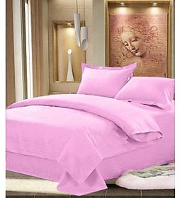 Luxmi Beautiful looking Plain Design 100  cotton solid Double Bed sheet with 2 pillow covers - Pink