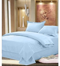 Luxmi Beautiful looking Plain Design 100  cotton solid Double Bed sheet with 2 pillow covers - Blue