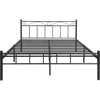 FurnitureKraft 4008 King Double Size Bed (Glossy Finish, Black)