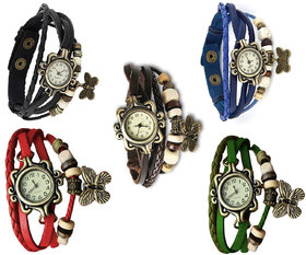 Jack Klein Round Dial Multicolor Leather Analog Watch For Women(Combo of 5)