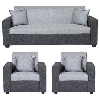 Gioteak Bulgariya 5 seater sofa set in black grey color 3+1+1