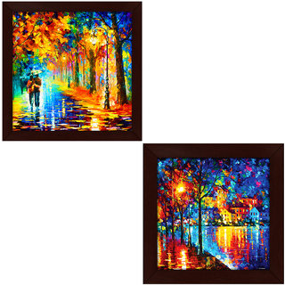 Story@Home Exclusive Love Couple Umbrella Art and Flower Wall Art Framed Painting Set of 2 (Wood , 12