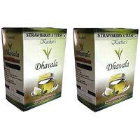 Dhavala Green Tea 200 Gms With Natural Tulsi & Strawberry-set Of 2