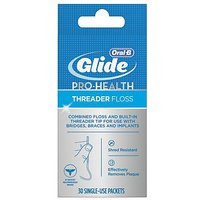Glide Threader Floss, 30-Count Boxes Of Single-Use Packets (Pack Of 4)