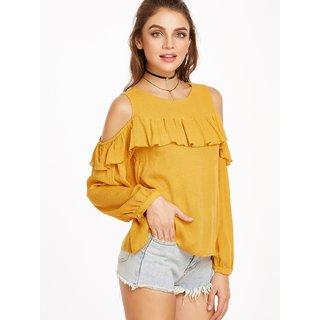 2649db6418001 Buy Rosella Mustard Cold Shoulder Crop Tops For Women Online   ₹799 ...
