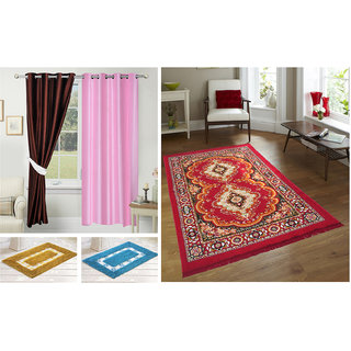 Azaani beautiful polyester set of 2 solid door curtains with one jute carpet & 2 cotton bathmat,