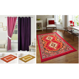 Azaani beautiful polyester set of 2 solid door curtains with one jute carpet & 2 cotton bathmat,