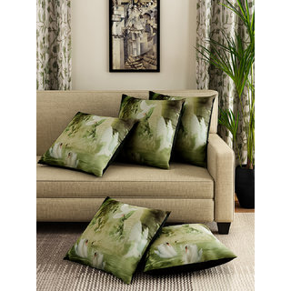 Romee Green Polyester Fabric Flying Bird Print Cushion Cover 16 x 16(SET OF 5 )