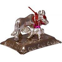 Samriddhi Vastu kamdhenu cow to fullfill your all wishes Showpiece - 4 cm (Iron, Silver)