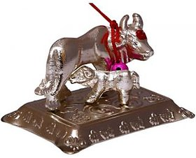 Samriddhi Vastu kamdhenu cow to fullfill your all wishes Showpiece - 4 cm (Iron, Silver)