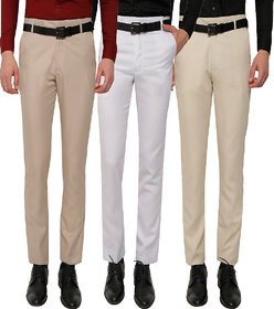 GWALIOR PACK OF 3 FORMAL TROUSERS (LIGHT BROWN, WHITE, BEIGE)
