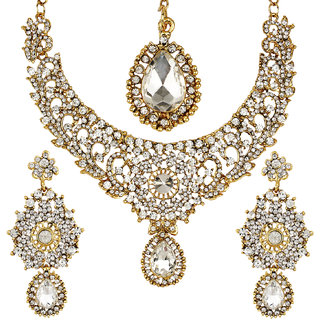 Jewels Gold Antique Simple Designer Non-Precious Latest Simple Necklace Set For Women  Girls