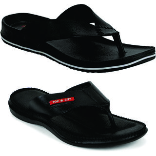 Edee Pack OF 2 Men's And Boy's Black Slippers And Flip Flops