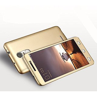 360 Degree Full Body Protection Front Back Case Cover (iPaky Style) with Tempered Glass for RedMi Note 4 (Gold) + USB LED Light