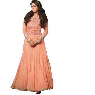 Glitters Peach Mono Net Georgette Semi Stitched Anarkali Dress Material