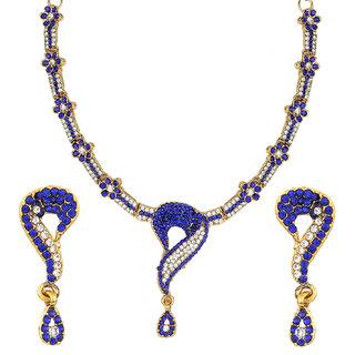 Jewels Gold Ethnic Simple Designer Blue  Multi Designer Latest Necklace Set For Women  Girls
