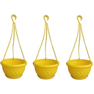 Hanging planter plastic with bottom tray yellow color( PACK OF 3)- Minerva Naturals