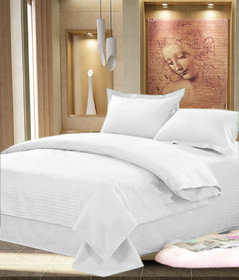 As Beautiful looking Plain Design 100  cotton solid Double Bed sheet with 2 pillow covers - White