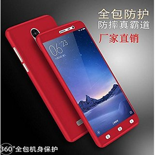 360 Degree Full Body Protection Front Back Case Cover (iPaky Style) with Tempered Glass for Motorola Moto G4 Plus (Red)