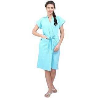 16f6fe10a5 Buy FeelBlue Women s Cotton Bathrobe( Sky Blue) Online - Get 53% Off