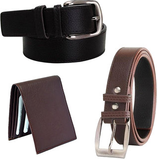 Ws deal men's brown and black synthetic leather needle pin point buckle belt with bifold brown synthetic  wallet (combo)