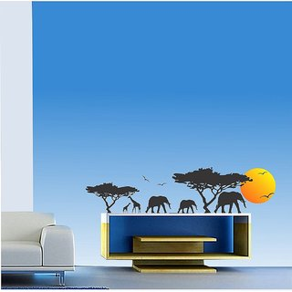 Asmi Collections Wall Stickers Animals in a Jungle in Evening Sunset AN079