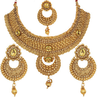 Jewels Gehna Ethnic Antique Simple Designer Gold Plated Traditional Latest Necklace Set For Women  Girls