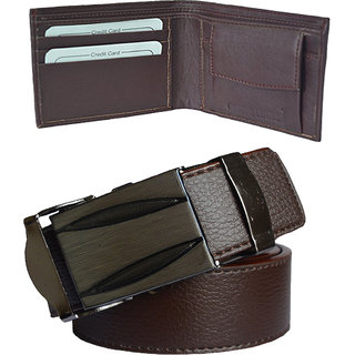 Ws deal men's brown synthetic leather auto lock buckle belt with bifold brown synthetic leather wallet (combo) (Synthetic leather/Rexine)