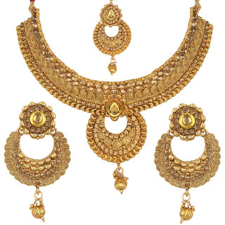Jewels Gehna Traditional Antique Simple Designer Stylish Gold Plated Fancy Necklace Set For Women  Girls