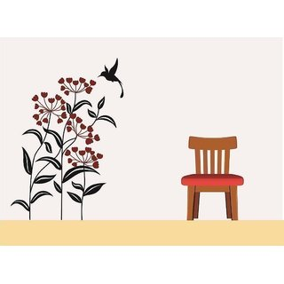 Asmi Collections Pvc Wall Stickers Beautiful Flowers and Bird