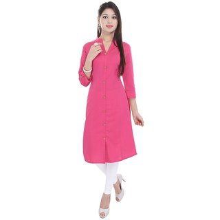 Shreeka Pink Plain Cotton Straight Kurti