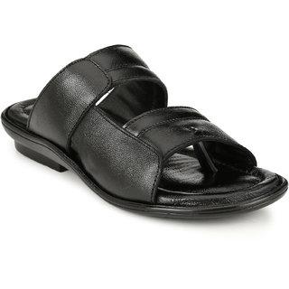 Lee Peeter Men's Black Leather Sandals