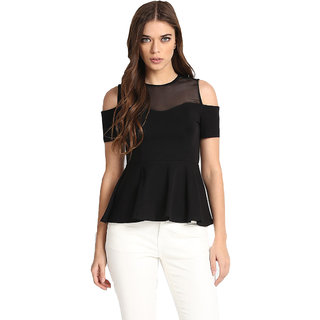 Aashish Garments Black Plain Round Neck Cold Shoulder Peplum Top