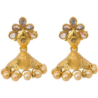 Gold Indian Royal Studded Stone Pearl Moti Earrings
