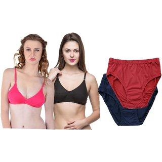 22c97a61c3 Buy Women fashion pink black bra  brown and black panties set of 4 ...