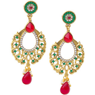 Red Green Indian Stone Pearl Dangle moti Kundan Earrings