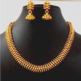 Wow Womaniya Gorgeous Golden necklace set with jhumki