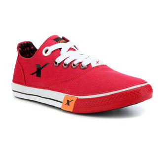 Sparx Men's Black & Red Lace-up Sneakers