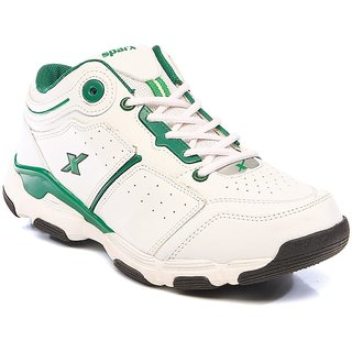 Sparx Mens' White & Green Running Shoes (SM-174)