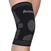 Anser A01 Elastic Sports Leg Knee Support Brace Wrap Protector Knee Pads Sleeve Cap Patella Guard Volleyball Knee Black - 1pcs (Xl)