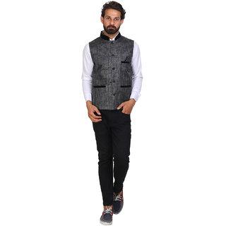 Sleeveless Solid Men's Grey Jacket