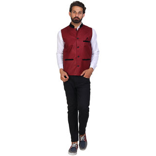Sleeveless Solid Men's Purple Jacket