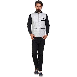 Sleeveless Solid Men's White Jacket