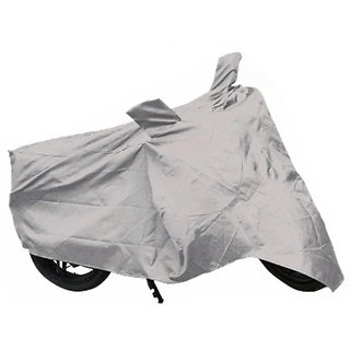 Relisales Two wheeler cover with mirror pocket Dustproof for Bajaj Pulsar 220 F - Silver Colour