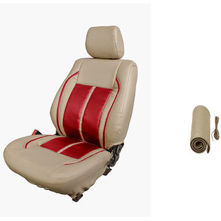 Musicar Hyundai Verna Beige Leatherite Car Seat Cover with 1 Year Warranty And Steering cover  Free