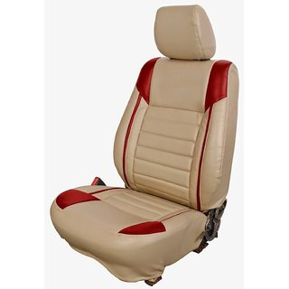 Musicar Mahindra TUV 300 Beige Leatherite Car Seat Cover with 1 Year Warranty And Steering cover  Free